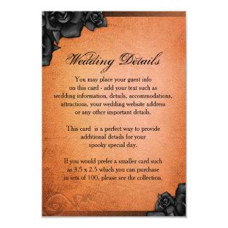 Halloween orange et roses noirs épousant des carton d'invitation 8,89 cm x 12,70 cm