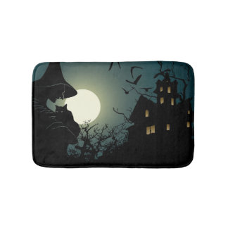 Halloween : sorcière et maison hounted tapis de bain