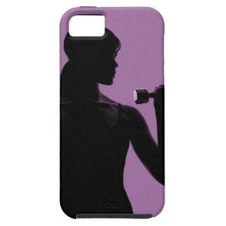 haltère de levage de fille sur l'arrière - plan coque iPhone 5