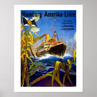 Hambourg Amérique vers l'Amérique du Sud Posters