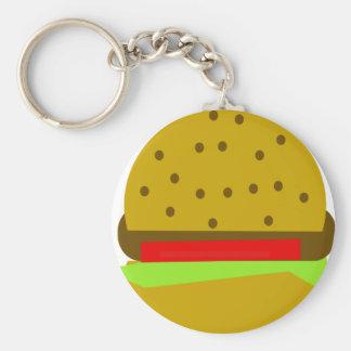 Hamburger d'aliments de préparation rapide de porte-clé rond