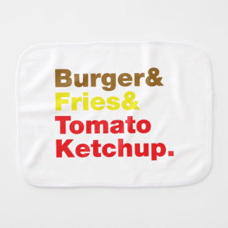 Hamburger et fritures et ketchup de tomate linges de bébé