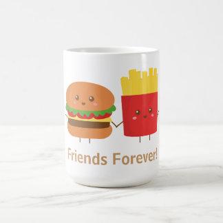 Hamburger et fritures mignons, amis pour toujours mug