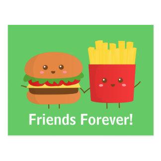 Hamburger et fritures mignons et heureux, amis carte postale