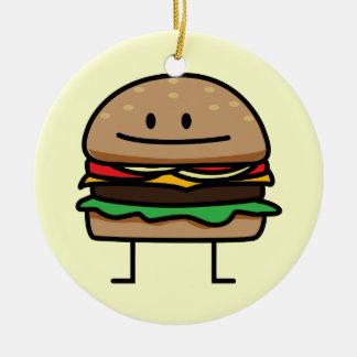 Hamburger heureux ornement rond en céramique