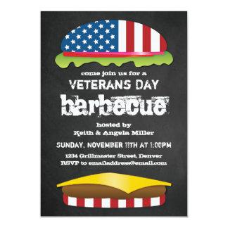 Hamburger patriotique de BBQ de jour de vétérans Carton D'invitation 12,7 Cm X 17,78 Cm