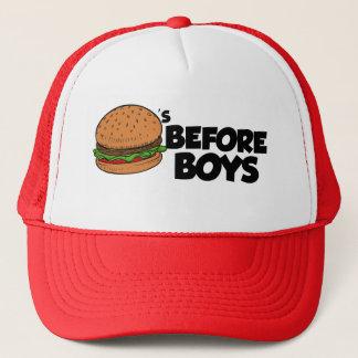 Hamburgers avant casquette drôle de garçons