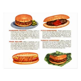 Hamburgers vintages de kitsch et hot-dogs ! carte postale