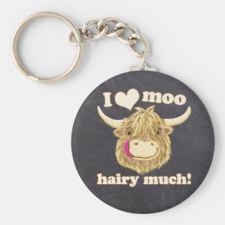 Hamish petit aime le MOO velu beaucoup ! Vache des Porte-clés