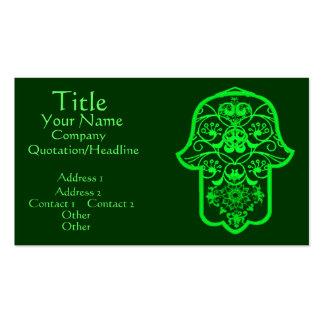 Hamsa floral vert modèles de cartes de visite