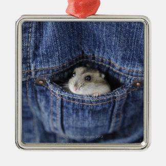 Hamster dans la poche ornement carré argenté