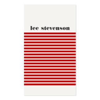 Hanche rayée rouge et noire moderne fraîche carte de visite standard
