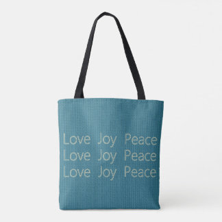 Hand-Stitch*-LOVE-JOY-PEACE-Blue-Everyday-TOTES Sac