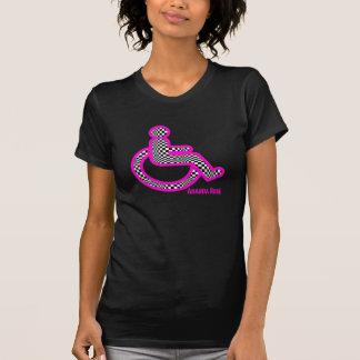 Handicapé dans le rétro T-shirt des femmes roses
