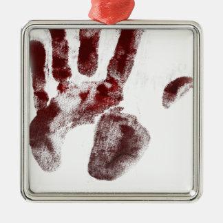 Handprint de sang d'assassin en série ornement carré argenté