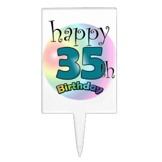 Happy 35th Birthday (bleu) Étiquette À Gâteau