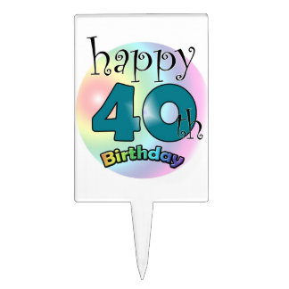 Happy 40th Birthday Étiquette À Gâteau