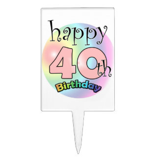 Happy 40th Birthday (rose) Pique À Gâteau