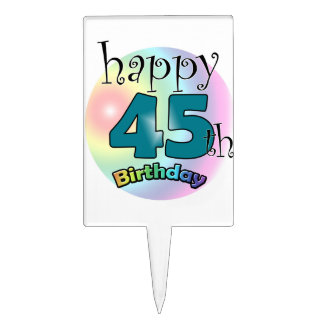 Happy 45th Birthday (bleu) Piques À Gâteaux