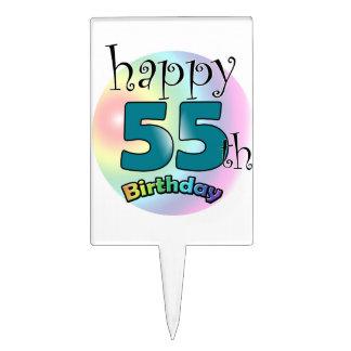 Happy 55th Birthday (bleu) Étiquettes À Gâteau