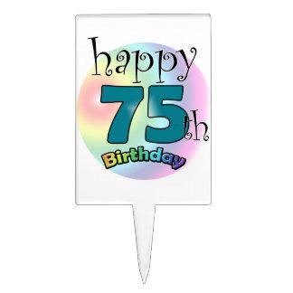 Happy 75th Birthday (bleu) Étiquettes À Gâteau