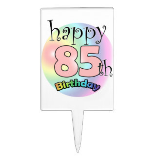 Happy 85th Birthday (rose) Étiquette À Gâteau