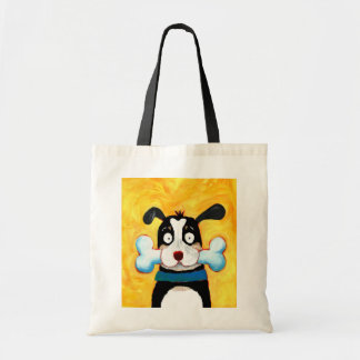 happy dog add your own text canvas bag
