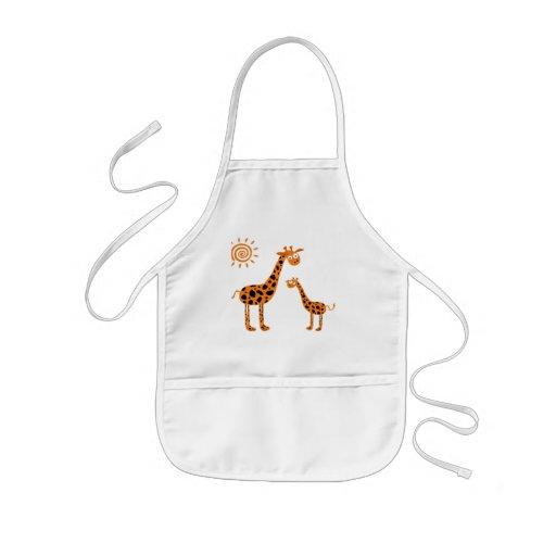 Happy giraffes apron tablier