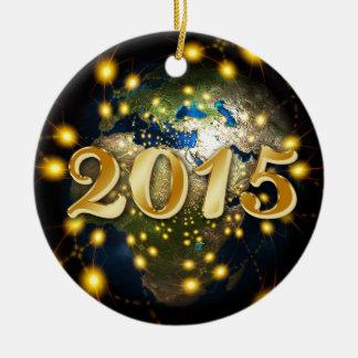 Happy New Year 2015 Ornement Rond En Céramique