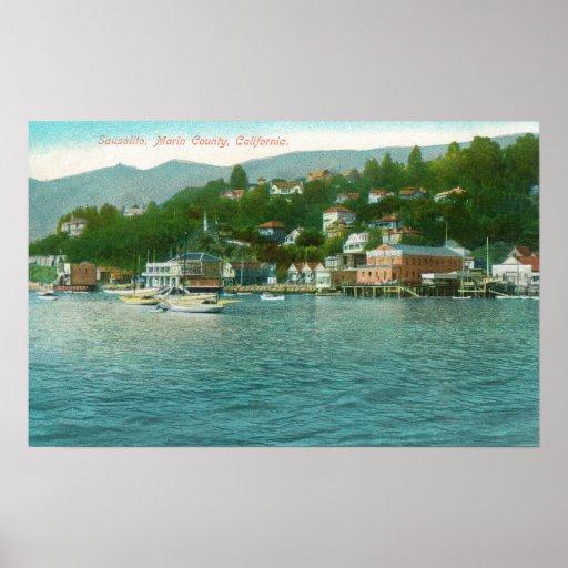 Harborview avec des yachts et des bateaux à voile poster