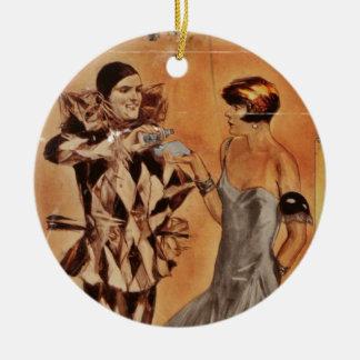 Harlequin de carnaval et aileron (cologne) ornement rond en céramique