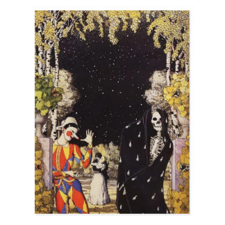 Harlequin et mort de Konstantin Somov- Carte Postale