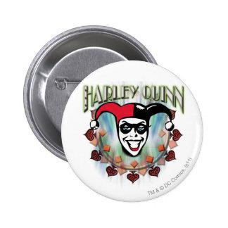 Harley Quinn - visage et logo Badge Rond 5 Cm