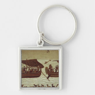 Harold croise la Manche avec des voiles pleines de Porte-clé Carré Argenté