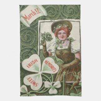 Harpe de shamrock de shamrocks de bouquet de femme serviettes éponge