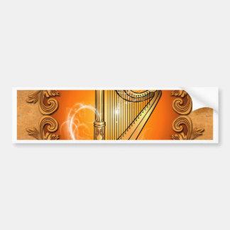 Harpe en or avec les damassés élégantes adhésif pour voiture