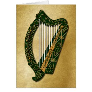 Harpe irlandaise et bénédiction - 1 carte