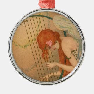 Harpe victorienne de cannelure de musiciens d'ange ornement rond argenté