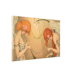Harpe victorienne de cannelure de musiciens d'ange toiles