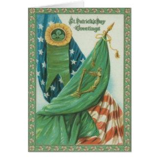 Harpe vintage de drapeau américain d'Erin St Patri Carte De Vœux