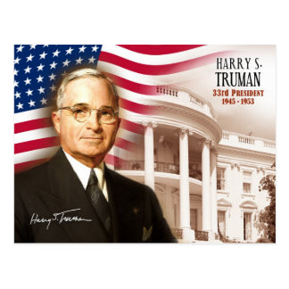 Harry S. Truman - trente-troisième président des Carte Postale