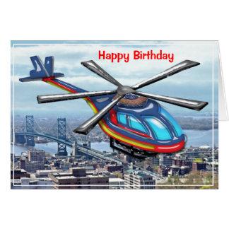 Haut hélicoptère de vol au-dessus de joyeux carte de vœux