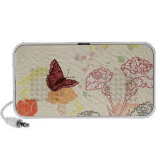 Haut-parleur d'oeillets et de papillons d'aquarell