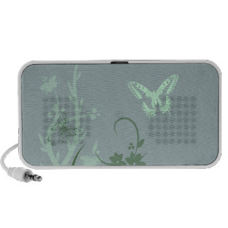 Haut-parleur vert et bleu de jardin de papillon