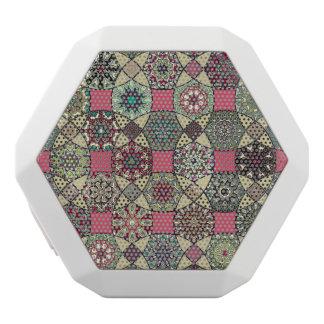 Haut-parleurs Blancs Sans-fils Motif coloré vintage décoratif avec le patchwork