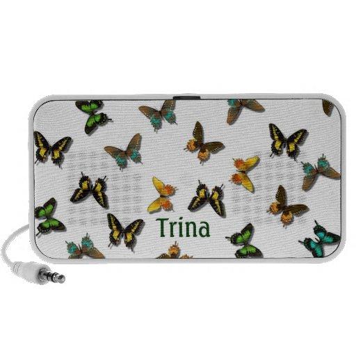 Haut-parleurs colorés de griffonnage de papillons