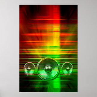 Haut-parleurs colorés de musique poster