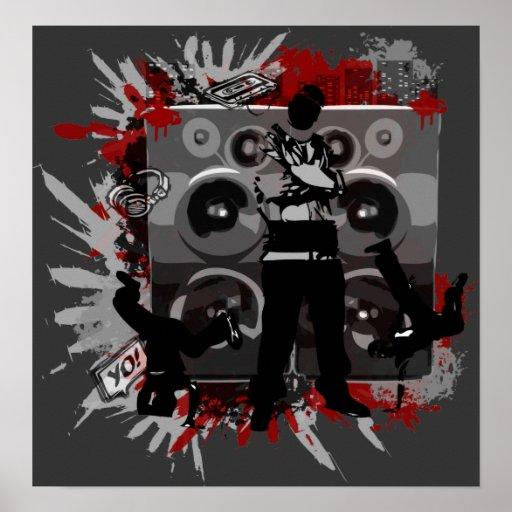 Haut-parleurs de hip hop poster