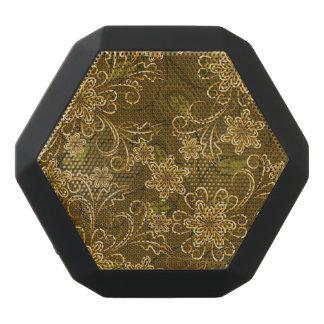 Haut-parleurs Noirs Sans-fils Motif floral vintage d'or