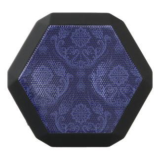 Haut-parleurs Noirs Sans-fils Papier peint floral bleu de luxe de damassé